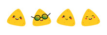Set, Collection Of Cute Smiling Nachos, Tortilla Chips Characters For Snacks Or Mexican Food Design.