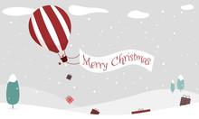 Merry Christmas - Geschenkkarte, Weihnachtswichtel Fliegt In Heißluftballon über Winterlandschaft Und Wirft Geschenke Ab, Banner