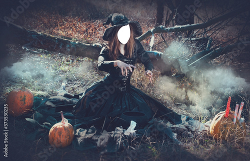 Obraz Halloween decorative holiday. The sorceress hid her face behind an oval. Withered nature - fototapety do salonu