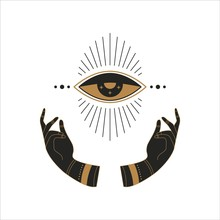 Boho Doodle Mystic Template. Hand Drawn Esoteric Magic Hands With Moon Eye, Simple Feminine Logo Design. Vector Illustration