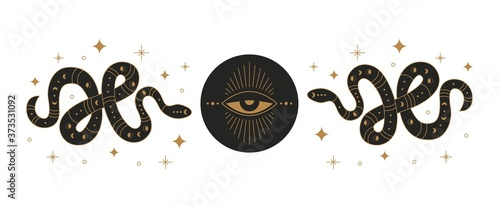 Boho mystic snake design. Abstract hand drawn esoteric serpent icon golden elements with moon eye, occult egypt style. Vector illustration