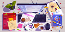 Messy Workplace Top View, Clut...