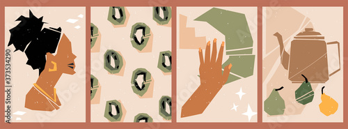 Fototapeta Set of abstract posters with torn paper elements. Collage of various cut out paper shapes. Backgrounds with a fashion woman silhouette, kiwi, manicure. Still life with a teapot and pears. obraz