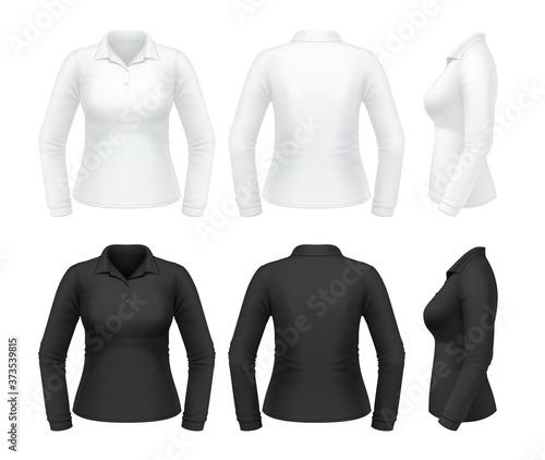 Vászonkép Women's long sleeve polo shirt