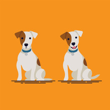 Cute Flat Vector Small Dog Character Design On Jack Russell Terrier Sitting With Closed And Open Mouth, Wearing Blue Collar. Ideal For Pets Themed Graphic And Wed Design