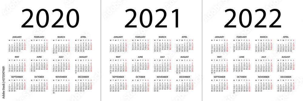 Fototapeta Calendar 2020 2021 2022 - illustration. Week starts on Monday. Calendar Set for 2020, 2021, 2022 years
