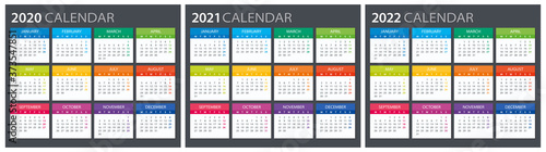 Fotomural 2020 2021 2022 Calendar - illustration. Template. Mock up