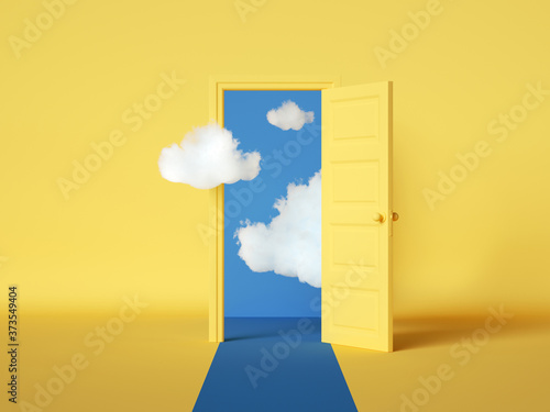 Fotografija 3d rendering, white clouds flying out and going through the open door, objects isolated on bright yellow background