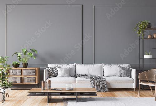 Fotografie, Obraz Open space living room interior mockup, white sofa, rattan chair, lots of fresh