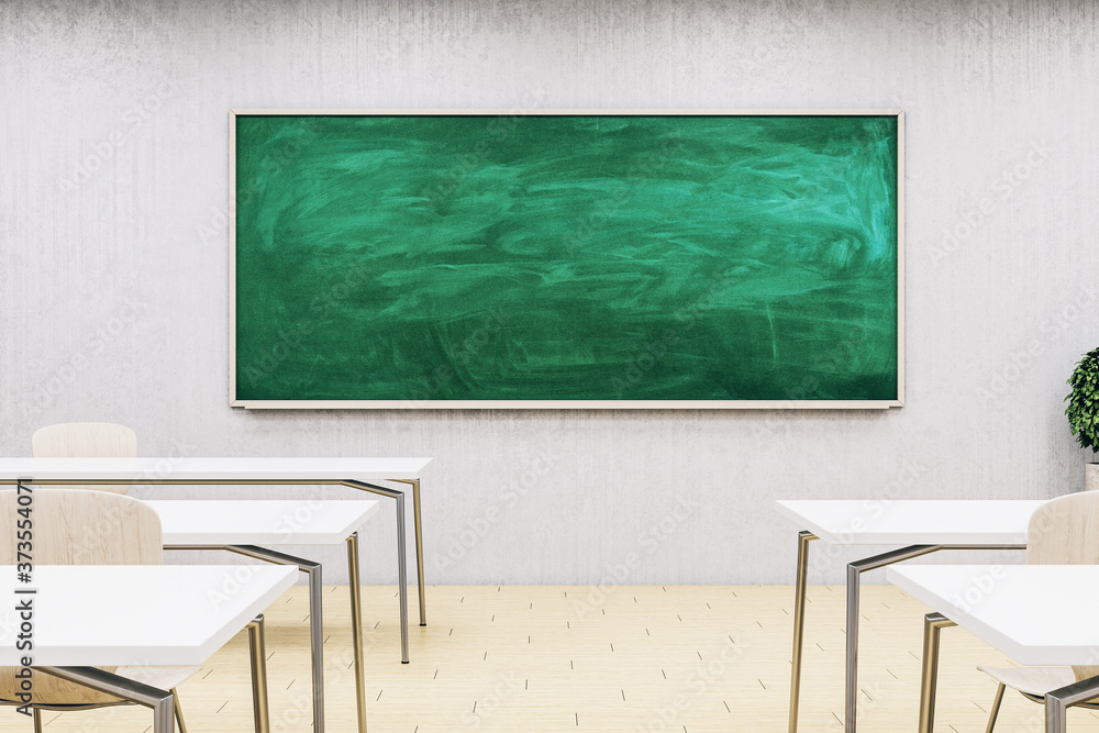 New classroom interior with empty blackboard