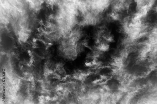 Fényképezés Black and white sky background texture of soft clouds.