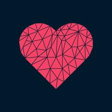 Polygonal Heart On Dark Backdr...