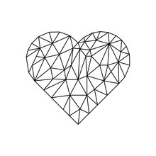 Polygonal Heart On White Backd...
