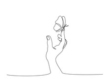 Hand With Butterfly On Finger. Continuous One Line Art