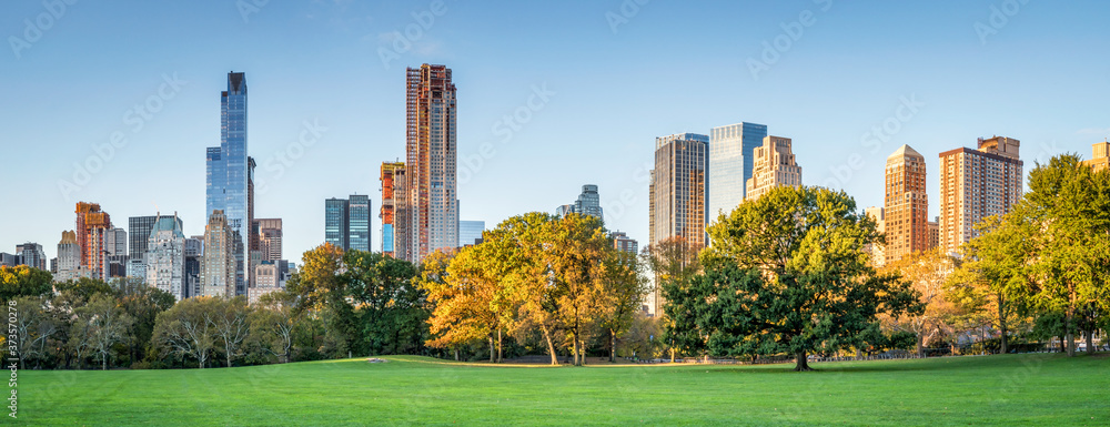Fototapeta Panoramic view of Central Park in autumn, New York City, USA