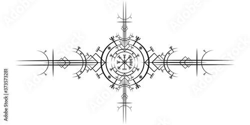 Fototapeta Magic ancient viking art deco, Vegvisir magic navigation compass ancient