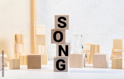Foto songs word in mixed vintage metal type printing blocks over grunge wood
