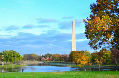 Washington D.C. in autumn foliage - A view from Constitution Garden in the fall - Washington D.C. United States