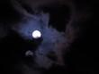 canvas print picture - Blau violetter Nachthimmel / Vollmond