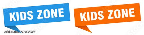 Fotografie, Tablou kids zone banner sign. kids zone speech bubble label set