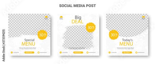 Yellow and White Social Media Food Menu Banners Billede på lærred