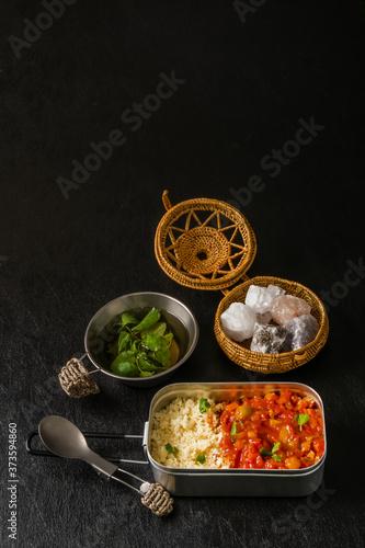 北アフリカ料理 ひよこ豆とクスクス  Boiled chickpeas with couscous Fototapete