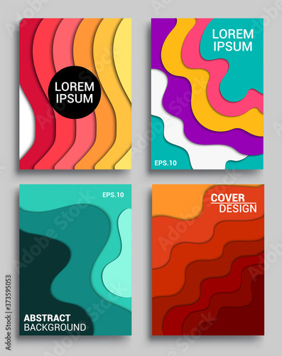 Vertical banners templates with 3D abstract, Modern abstract background and cover with paper cut style Poster Mural XXL