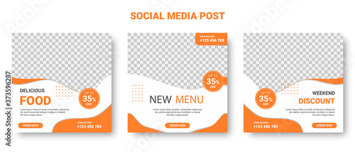 Orange and White Square Social Media Posts Fotobehang