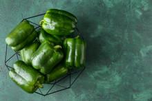 Green Bell Pepper In Basket On...