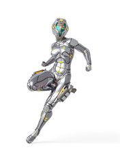 Astronaut Girl On Sci-fi Suit In Action Pose