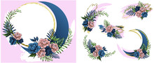 Crescent And Blot Boho Flowers...