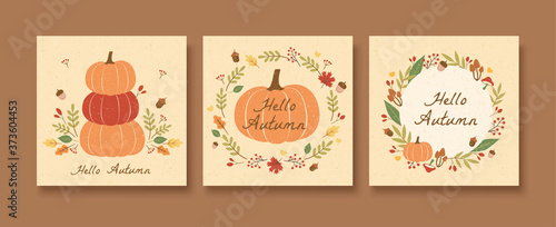 Obraz Autumn pumpkin pattern set - fototapety do salonu