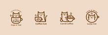 Lovely Cat Cafe Line Style Logo Set