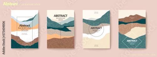 Flat mountain layers flyer set Fototapeta
