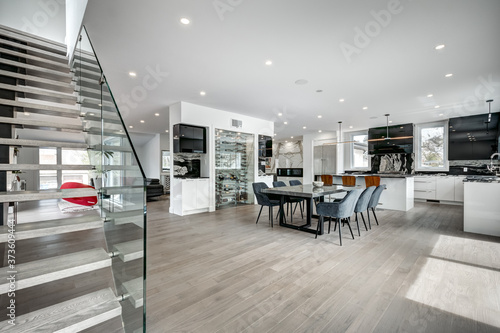 Obraz na plátně New big luxury modern house in Montreal's suburb partially furnished with backya