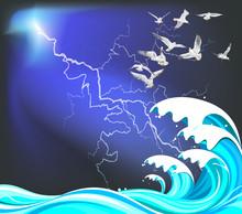Seagulls Flying Over High Ocean Waves Set Against A Thunderstorm Sky