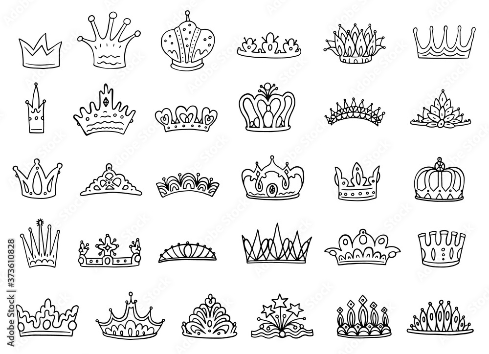 Fototapeta Set of royal jewelry crowns - black outline vector sketch illustration isolated.