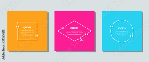 Obraz Quote frame template. Quotations text box. Vector. White info comments and messages in textboxes on color background. Set of speech bubbles. Cards with phrases in brackets. Colorful illustration. - fototapety do salonu
