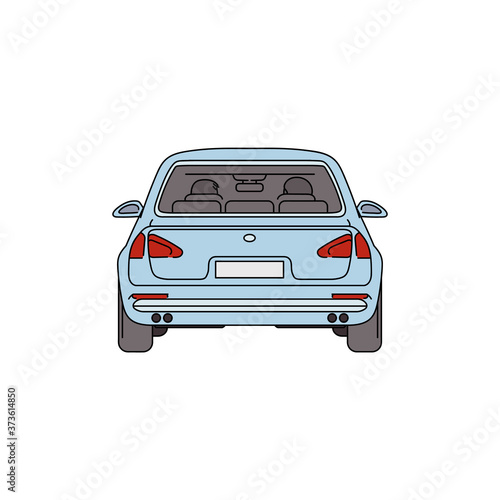 Cuadros en Lienzo Light blue car from back view - cartoon drawing of empty automobile vehicle