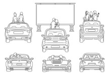 Open Air Cinema In City Parking, Sketch Vector Black Line Illustration Isolated.