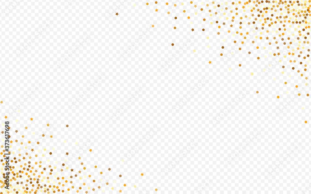 Fototapeta Golden Rain Paper Transparent Background. Glamour