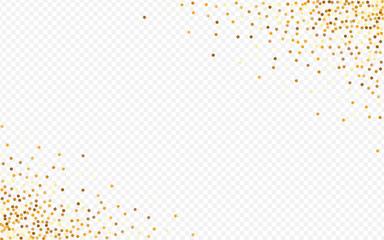 Golden Rain Paper Transparent Background. Glamour