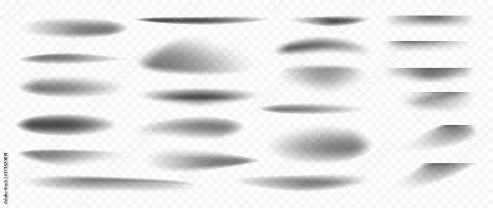 Fototapeta Realistic shadow effect isolated on transparent background Vector.  shadows dividing lines and corners, Separator line or shadow divider for web page and object.
