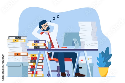 Business man is sleeping at his workplace desk during working hours with the piles of paper document around Fototapete