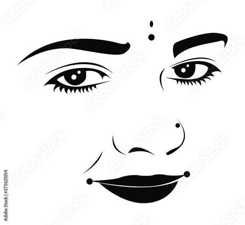 Stampa su Tela Indian Woman Face with Traditional and innocent look - black and white vector il
