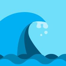 Bid Ocean And Sea Wave In Blue...