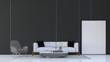 Leinwanddruck Bild - 3D rendering mock up interior design of modern living room and black wall pattern background