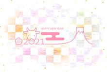 年賀状2021 パステルカラーグラデーション 丑年 富士山