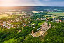 Csesznek, Hungary - Aerial Pan...