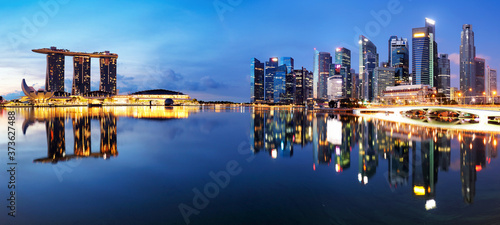 Singapore down town panorama at night Canvas